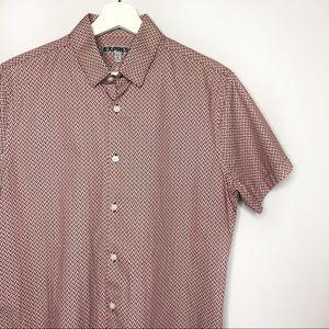MEN EXPRESS Fitted Short Sleeves Bottom Down Shirt
